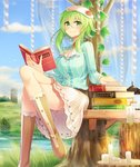 1girl blouse book boots breasts candle cloud cloudy_sky commentary_request crossed_legs day green_eyes green_hair gumi hat highres holding holding_book large_breasts looking_at_viewer outdoors sakakidani short_hair_with_long_locks sitting_on_bench skirt sky smile solo striped striped_blouse vertical_stripes vocaloid white_skirt