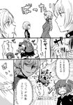 3girls black_skirt braided_ponytail breasts comic commentary_request evil_grin evil_smile explosion facial_scar fate/apocrypha fate/grand_order fate_(series) florence_nightingale_(fate/grand_order) fujimaru_ritsuka_(female) grin hair_between_eyes jack_the_ripper_(fate/apocrypha) long_hair long_sleeves looking_at_another medium_breasts military military_uniform multiple_girls navel o_o ponytail scar scar_across_eye scar_on_cheek scared short_hair side_ponytail skirt smile toshibo_(chitose_ryouta) translation_request uniform