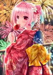 1girl absurdres aerial_fireworks back_bow bangs blue_hair blush bow candy_apple checkered checkered_kimono commentary_request eyebrows_visible_through_hair fan fireworks floral_print food hair_between_eyes has_bad_revision has_downscaled_revision highres holding holding_food huge_filesize idolmaster idolmaster_cinderella_girls japanese_clothes kimono long_sleeves looking_at_viewer looking_to_the_side multicolored_hair night night_sky outdoors paper_fan pill_earrings pink_hair print_bow print_kimono railing red_eyes red_kimono sky solo star_(sky) starry_sky tongue tongue_out two-tone_hair uchiwa wide_sleeves yagasuri yukata yumemi_riamu yunagi_amane