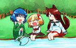 3girls :d ^_^ animal_ears blonde_hair blue_hair brown_hair closed_eyes dress hair_ribbon imaizumi_kagerou japanese_clothes kimono long_hair multiple_girls open_mouth ribbon rokugou_daisuke rumia short_hair smile stone tail touhou wakasagihime wolf_ears wolf_tail