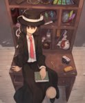 1girl arm_support bei_mochi black_eyes black_hair black_skirt book bottle branch camera cellphone closed_mouth commentary_request crystal desk fedora grimoire_of_alice hair_between_eyes hat hat_ribbon highres jeweled_branch_of_hourai key knife long_sleeves looking_at_viewer mini-hakkero mushroom necktie ofuda on_desk oonusa phone red_necktie ribbon ritual_baton shirt sitting sitting_on_desk skirt solo sorcerer's_sutra_scroll suit_jacket test_tube touhou usami_renko white_shirt yin_yang_orb