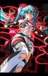 1girl aqua_eyes aqua_hair armpits arms_up bare_shoulders bdsm black_gloves blush bondage bound bound_arms breasts breasts_apart burnt_clothes clenched_teeth commentary_request elbow_gloves from_below gloves grey_shorts hair_ribbon hatsune_miku high_collar highres knee_up laser long_hair looking_down medium_breasts nijigen_dream_fever_(vocaloid) nose_blush pink_ribbon project_diva_(series) restrained ribbon scared shirt shorts sleeveless sleeveless_shirt solo sweat teeth thigh_strap thighhighs torn_clothes torn_gloves torn_legwear torn_shirt torn_shorts tsukishiro_saika very_long_hair vocaloid w_arms white_legwear wide-eyed