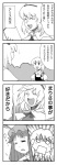 3girls 4koma alice_margatroid azumanga_daiou bad_id bow braid comic hairband highres kirisame_marisa long_hair monochrome multiple_girls nattororo parody patchouli_knowledge short_hair touhou translated