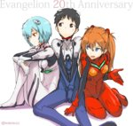 1boy 2girls :d anniversary arm_support ayanami_rei bangs between_legs black_eyes black_hair blue_eyes blue_hair blush bodysuit bracer copyright_name embarrassed full_body girl_sandwich gloves hair_between_eyes hair_ornament hand_between_legs ikari_shinji knees_up leaning_forward leg_hug long_hair looking_at_another looking_away looking_down multiple_girls neon_genesis_evangelion number open_mouth orange_hair pilot_suit plugsuit red_eyes sandwiched shadow short_hair simple_background sitting skinny small_breasts smile souryuu_asuka_langley turtleneck twitter_username v_arms white_background yokozuwari