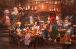 +_+ 5boys 5girls adelbert_steiner armor ascot barrel basket beatrix blank blonde_hair blue_eyes bob_cut bottle bow bread breastplate brown_eyes brown_hair candle carrying chandelier chef_hat cleavage_cutout cup earrings eiko_carol eyepatch feathers final_fantasy final_fantasy_ix flying food fork freija_crescent fruit garnet_til_alexandros_xvii glass gloves grapes hair_bow hand_on_own_face happy hat helmet horn indoors jewelry keg laughing long_hair looking_at_another meat mog moogle mug multiple_boys multiple_girls neck_ribbon plate purple_hair quina_quen red_hair restaurant ribbon ruby_(ff9) salamander_coral sasumata_jirou short_hair sitting smile stairs star stool striped striped_legwear table tail tongue tongue_out turkey_(food) vivi_ornitier walking white_hair witch_hat zidane_tribal
