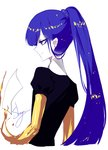 1other absurdres alternate_hairstyle androgynous artist_name blue_eyes blue_hair commentary cropped_torso from_behind gem_uniform_(houseki_no_kuni) golden_arms highres houseki_no_kuni long_hair long_ponytail paper phosphophyllite phosphophyllite_(ll) ponytail profile puffy_short_sleeves puffy_sleeves sheya short_sleeves signature simple_background smile solo spoilers symbol_commentary upper_body white_background