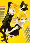 1boy 1girl blue_eyes controller game_console game_controller holding_hands kagamine_len kagamine_rin nail_polish project_diva_(series) project_diva_f reciever_(module) remote_control rimocon_(vocaloid) sega_dreamcast shoes short_hair short_ponytail simple_background transmitter_(module) vocaloid yellow_background yellow_nails
