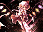 1girl :o alternate_wings blonde_hair flandre_scarlet glowing glowing_weapon hat looking_at_viewer pointy_ears red_eyes side_ponytail solo thighhighs toosaka_asagi touhou v_arms weapon white_legwear wings wrist_cuffs zettai_ryouiki
