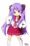 1girl blue_eyes blush commentary_request dot_nose eyebrows_visible_through_hair feet_out_of_frame hair_ornament hair_ribbon highres hiiragi_kagami kneehighs long_hair long_sleeves looking_at_viewer lucky_star pink_skirt purple_hair ragho_no_erika ribbon ryouou_school_uniform school_uniform serafuku shirt simple_background skirt solo translation_request twintails v-shaped_eyebrows white_background white_legwear white_shirt