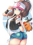 1girl baseball_cap blue_eyes breasts brown_hair cowboy_shot denim denim_shorts from_side half-closed_eyes hat hat_tip highres looking_at_viewer looking_back poke_ball pokemon pokemon_(creature) pokemon_(game) pokemon_bw ponytail racket_ti1 short_shorts shorts simple_background smile solo tank_top tepig touko_(pokemon) vest white_background wristband