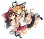 2girls :o ;d absurdres apron ascot black_footwear black_hair blonde_hair blouse blush bobby_socks bow bowtie braid detached_sleeves dutch_angle fang glowing hair_bow hair_tubes hakurei_reimu hat high_heels highres holding_hands interlocked_fingers jumping kirisame_marisa large_bow long_hair looking_at_viewer multiple_girls one_eye_closed open_mouth puffy_short_sleeves puffy_sleeves red_eyes seika_okawari shoes short_sleeves side_braid single_braid skirt skirt_set smile socks touhou vest waist_apron wavy_hair white_background white_legwear witch_hat wrist_cuffs yellow_eyes yellow_neckwear