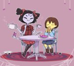 1girl =_= androgynous black_hair brown_hair carpet chair closed_eyes croissant cup doughnut eating extra_eyes fangs food frisk_(undertale) hair_ribbon long_sleeves monster_girl muffet multiple_arms purple_skin ribbon sasa_kichi silk sitting spider_web spiked_hair striped striped_sweater sweater table teacup teapot twintails undertale yellow_skin