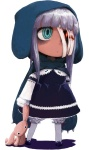 1girl anorak aqua_eyes bandage_over_one_eye bandages blood bloomers crazy_eyes dress face gothic_lolita hood lolita_fashion long_hair oomori_harusame original ribbon-trimmed_bloomers solo stuffed_animal stuffed_bunny stuffed_toy underwear white_bloomers white_hair