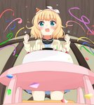 1girl absurdres bangs birthday birthday_cake black_shirt blonde_hair blue_dress blue_eyes blurry blurry_foreground brown_jacket burning cake candle collarbone collared_shirt commentary_request confetti depth_of_field dress drooling eyebrows_visible_through_hair fire food fork fur-trimmed_hat fur_trim gochuumon_wa_usagi_desu_ka? hair_ribbon hat highres holding holding_fork holding_spoon indoors jacket kirima_sharo kneeling kousaka_nobaku long_sleeves mini_hat mouth_drool open_clothes open_jacket open_mouth party_hat ribbon shirt solo spoon streamers table tears tilted_headwear white_ribbon