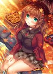 1girl :p aoki_kaede apple_hair_ornament arm_support autumn_leaves bangs basket beret black_choker black_shirt blurry blurry_foreground blush breasts brown_hair brown_headwear choker closed_mouth commentary_request day depth_of_field eyebrows_visible_through_hair fingernails food food_themed_hair_ornament ginkgo ginkgo_leaf green_eyes grey_skirt hair_between_eyes hair_ornament hairclip hat jacket knees_together_feet_apart large_breasts leaf long_hair long_sleeves maple_leaf open_clothes open_jacket original outdoors plaid plaid_skirt pleated_skirt red_footwear red_jacket shirt shoes shoes_removed sitting skirt soaking_feet solo stone suzunone_rena tongue tongue_out water watermark x_hair_ornament