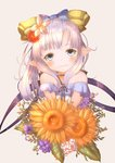 1girl bangs bare_shoulders blue_bow blue_eyes blush bouquet bow brown_background closed_mouth collarbone commentary_request cropped_torso demimushi dress eyebrows_visible_through_hair flower granblue_fantasy hair_bow hair_flower hair_ornament harvin head_tilt highres holding holding_bouquet lilele_(granblue_fantasy) long_hair looking_at_viewer off-shoulder_dress off_shoulder orange_flower pointy_ears purple_flower purple_hair red_flower simple_background smile solo white_dress white_flower