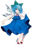 1girl :d absurdres adapted_costume bare_arms blue_dress blue_hair bow cirno commentary daimaou_ruaeru dress eyebrows_visible_through_hair full_body green_bow hair_between_eyes hair_bow head_tilt high_heels highres ice ice_wings lifted_by_self looking_at_viewer neck_ribbon open_mouth red_bow red_neckwear red_ribbon ribbon short_hair simple_background skirt_hold smile solo touhou white_background white_footwear wing_collar wings