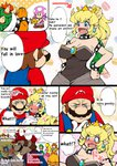 3boys 4girls @_@ amano_jack_(paradise_jack) begging black_dress blonde_hair blue_eyes blush bowser bowsette breasts brothers brown_hair cleavage comic commentary dress embarrassed english engrish facial_hair fang gloves green_hat hands_on_hips hat heart highres horns large_breasts looking_at_another looking_away luigi mario mario_(series) multiple_boys multiple_girls mustache new_super_mario_bros._u_deluxe nose open_mouth orange_dress pink_dress ponytail princess_daisy princess_peach ranguage red_hat siblings smile speech_bubble spiked_shell super_crown surprised toadette transformation translated turtle_shell white_gloves