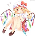 1girl ? artist_name ascot ass bangs bare_legs blonde_hair blush bow brown_footwear commentary_request crystal eyebrows_visible_through_hair flandre_scarlet frilled_bow frilled_shirt_collar frills hair_between_eyes hand_on_own_cheek hat hat_bow highres knees_up long_hair looking_at_viewer miniskirt mob_cap one_side_up open_mouth panties pantyshot pantyshot_(sitting) puffy_short_sleeves puffy_sleeves ramudia_(lamyun) red_bow red_eyes red_skirt red_vest shirt shoes short_sleeves sitting skirt skirt_set solo thighs touhou twitter_username underwear vest white_headwear white_panties white_shirt wings wrist_cuffs yellow_neckwear