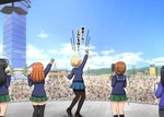 4girls ahoge arm_up black_footwear black_hair black_legwear blonde_hair blue_coat blue_skirt blue_sky blue_sweater blurry blurry_background braid brown_hair clapping cloud cloudy_sky commentary crowd darjeeling day depth_of_field dress_shirt from_behind girls_und_panzer green_skirt hands_together highres holding holding_microphone isuzu_hana loafers microphone miniskirt motion_lines multiple_girls nishizumi_miho omachi_(slabco) ooarai_(ibaraki) ooarai_marine_tower ooarai_school_uniform orange_hair outdoors pantyhose pleated_skirt school_uniform shirt shoes skirt sky socks st._gloriana's_school_uniform standing sweater takebe_saori thighhighs tied_hair translated twin_braids white_shirt