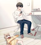 1boy 1girl 40hara animal_ear_fluff animal_ears bangs black_hair blonde_hair blunt_bangs cat_ears cat_tail cellphone chair chestnut_mouth clothes_writing collar commentary_request cup eyebrows_visible_through_hair green_eyes indoors kinako_(40hara) long_hair looking_at_another looking_at_phone lying mug on_back open_mouth original pet_collar phone red_collar shirt short_hair sitting slippers smartphone sweater table tail tissue_box white_shirt
