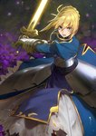 1girl action armor armored_dress artoria_pendragon_(all) blonde_hair excalibur fate/stay_night fate_(series) gauntlets glowing glowing_weapon green_eyes hair_bun highres nanbo_ataru_(attall) saber solo sword weapon