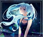 1girl black_dress blue_eyes blue_hair breasts cheng_(job276) cleavage collarbone crying crying_with_eyes_open dress eyebrows_visible_through_hair floating_hair hatsune_miku highres long_hair shiny shiny_hair sketch sky sleeveless sleeveless_dress small_breasts solo standing star_(sky) starry_sky tears twintails very_long_hair vocaloid