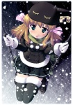 1girl animal_hat blush cat_hat copyright_request from_above fur_trim gloves green_scarf hat loafers ribbon sad scarf shoes snow snowing solo swing tears thighhighs twintails white_gloves winter yamabuki_zarame zettai_ryouiki