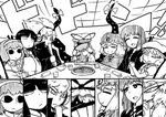 6+girls <o>_<o> =_= bow cape commentary_request constricted_pupils covering_face cup dress earmuffs eyebrows_visible_through_hair eyes fan fang gap greyscale grill hairband hand_on_own_cheek hat hat_ribbon heart hijiri_byakuren hime_cut houraisan_kaguya inset interlocked_fingers japanese_clothes jitome komeiji_satori layered_dress long_hair long_sleeves mob_cap monochrome multiple_girls napkin nicetack open_mouth paper_fan pointy_hair puffy_short_sleeves puffy_sleeves remilia_scarlet ribbon ritual_baton saigyouji_yuyuko shaded_face short_hair short_sleeves smile table third_eye touhou toyosatomimi_no_miko triangular_headpiece tunic wide_sleeves yakumo_yukari