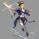1girl 23/7 black_hat black_pants blonde_hair blue_eyes breasts cape copyright_name cuboon epaulettes flaming_sword flower full_body glint gloves hat hat_feather hat_flower medal medium_breasts official_art pants red_cape sheath solo standing watermark white_gloves white_legwear