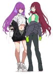 2girls alternate_costume bangs bespectacled can canned_coffee cup denim disposable_cup fate/grand_order fate_(series) food glasses hews_hack highres jacket jeans long_hair looking_at_viewer looking_back midriff multiple_girls navel pants ponytail popsicle purple_hair purple_ribbon red_eyes ribbon scathach_(fate)_(all) scathach_(fate/grand_order) scathach_skadi_(fate/grand_order) shorts tank_top work_in_progress