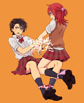 2boys bangs bare_legs black_hair blush crossdressing dress_shirt embarrassed full_body gold_(pokemon) hair_ornament hirosuke_(psychexx) kneehighs loafers multiple_boys open_mouth orange_background panties panty_pull plaid plaid_skirt pokemon pokemon_special ponytail red_hair school_uniform shirt shoes silver_(pokemon) sitting skirt sweatdrop sweater_vest underwear yellow_eyes
