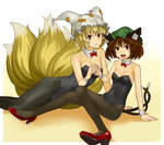 2girls animal_ears bare_arms bare_shoulders black_legwear blonde_hair bow bowtie breasts cat_ears cat_tail chen choker cleavage covered_navel detached_collar fox_ears fox_tail hands_together hat high_heels hyounosen_ena kittysuit leotard lips long_hair looking_at_viewer mound_of_venus multiple_girls multiple_tails navel open_mouth pantyhose pillow_hat red_ribbon red_shoes ribbon shoes sitting small_breasts smile solo tail touhou wrist_cuffs yakumo_ran yellow_eyes