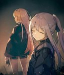 2girls ak-12_(girls_frontline) an-94_(girls_frontline) bangs blonde_hair blue_eyes braid breasts closed_mouth eyebrows_visible_through_hair french_braid from_side girls_frontline gloves hairband jacket light_particles long_hair long_sleeves looking_at_viewer looking_to_the_side medium_breasts multiple_girls nagu ribbon short_shorts shorts sidelocks silver_hair smile thighs very_long_hair