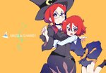2girls age_comparison breasts character_name dress glasses hair_between_eyes hat hug hys-d little_witch_academia long_hair long_sleeves looking_at_viewer multiple_girls open_mouth orange_background red_eyes red_hair shiny_chariot short_hair smile spoilers ursula_charistes witch witch_hat