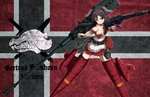 1girl animal_ears breasts brown_hair cannon character_name cleavage closed_mouth commentary corset dai_toro dirndl dog dog_ears dog_tail dress dual_wielding emblem explosive flag flag_background flying frilled_dress frills frown german_clothes gertrud_barkhorn grenade gun holding holding_gun holding_weapon huge_weapon karlsland long_hair looking_at_viewer machine_gun me_262 medium_breasts mg42 mg_151_cannon red_dress short_dress solo strike_witches striker_unit tail twintails weapon world_witches_series yellow_eyes