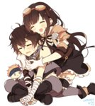 1boy 1girl ayer black_hair bowman_(granblue_fantasy) brother_and_sister character_doll closed_eyes commentary_request gloves goggles goggles_on_head granblue_fantasy hug hug_from_behind jessica_(granblue_fantasy) long_hair maru_(maruplum) siblings sitting skirt thighhighs