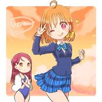 2girls ;q ahoge bangs blazer blue_jacket blue_neckwear blue_skirt blue_swimsuit bow bowtie braid clenched_hand clover_hair_ornament commentary_request crossed_arms hair_bow hair_ornament hairclip half_updo jacket long_hair long_sleeves looking_at_another love_live! love_live!_school_idol_project love_live!_sunshine!! morimaiko multiple_girls one-piece_swimsuit one_eye_closed otonokizaka_school_uniform pleated_skirt red_eyes red_hair sakurauchi_riko school_uniform short_hair side_braid skirt star striped striped_neckwear sunset sweatdrop swimsuit takami_chika tongue tongue_out towel towel_around_neck translation_request w yellow_bow yellow_eyes