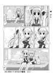 2girls ^_^ ^o^ anger_vein braid broom bubble_blowing bucket closed_eyes comic greyscale hat kantai_collection long_hair ma_rukan mini_hat monochrome multiple_girls pola_(kantai_collection) pout reflection sitting translation_request zara_(kantai_collection)