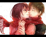 1boy 1girl artist_name brown_hair cheek-to-cheek closed_eyes eren_yeager kaine2828 mikasa_ackerman red_scarf scarf shared_scarf shingeki_no_kyojin snow snowing tagme