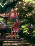 1girl animal_ears bamboo_broom broom chabi_(amedama) dated dress faux_traditional_media green_eyes green_hair kasodani_kyouko open_mouth short_hair skirt solo stairs stone_lantern touhou