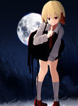 1girl bending_forward blonde_hair dress full_moon highres moon necktie night ogami_ren red_eyes rumia shirt short_hair smile touhou