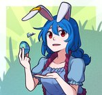 1girl animal_ears bangs blue_dress blue_hair bunny_ears commentary dress ear_clip easter_egg egg english_commentary english_text hair_between_eyes holding_egg long_hair looking_at_viewer low_twintails open_mouth puffy_short_sleeves puffy_sleeves red_eyes seiran_(touhou) short_sleeves solo speckticuls touhou twintails upper_body
