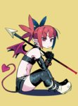 1girl bat_wings boots bracelet demon_girl demon_tail disgaea earrings elbow_gloves etna gloves highres jewelry pointy_ears polearm red_eyes red_hair sitting skirt solo spear tail the_omoti thigh_boots thighhighs twintails weapon wings