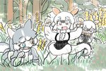 3girls animal_ears bangs black_hair blue_eyes brown_eyes commentary day dog_(mixed_breed)_(kemono_friends) dog_ears fang forest grass grey_hair gunzan hair_between_eyes hands_up heterochromia highres kemono_friends multicolored_hair multiple_girls nature open_mouth outdoors paw_pose plant short_hair southern_tamandua_(kemono_friends) southern_tamandua_ex_(kemono_friends) tamandua_ears tamandua_tail two-tone_hair white_hair yellow_eyes