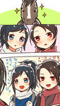 2boys :o alternate_costume blue_eyes blue_hair blush brown_hair comic face high_ponytail horse japanese_clothes kashuu_kiyomitsu kimono long_hair male_focus mole mole_under_eye mole_under_mouth multiple_boys open_mouth ponytail red_eyes red_scarf saniwa_(touken_ranbu) scarf sparkle sweatdrop touken_ranbu translation_request ukata white_scarf yamato-no-kami_yasusada