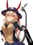 1girl bangs bar_censor black_bra black_gloves black_jacket blue_skirt blurry blush bomber_jacket bra breasts brown_shirt censored collared_shirt commentary_request cuffs demon_horns depth_of_field eyebrows_visible_through_hair fangs fingerless_gloves fur-trimmed_jacket fur_trim girls_frontline gloves hair_between_eyes hat heart heart-shaped_pupils high_collar highres horns jacket korean_commentary long_hair looking_at_viewer m870_(girls_frontline) mechanical_tail miniskirt name_tag open_clothes open_mouth orange_eyes pleated_skirt pointing sd_bigpie shirt sidelocks simple_background skirt solo sweat symbol-shaped_pupils tail taut_clothes taut_shirt twintails underwear white_background