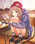1girl absurdres book brown_hair chair desk full_body grey_eyes hat highres holding holding_book hood hooded_sweater indoors kishida_mel long_hair open_book open_mouth open_window purple_sweater red_hat school_fanfare sitting socks solo sweater wooden_floor