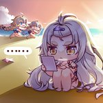... 3girls :d ;d ahoge bangs bare_arms bare_legs bare_shoulders barefoot beach bell bikini black_bikini_top blonde_hair blue_bikini blue_eyes braid brown_eyes chain chasing chibi cloud collarbone eyebrows_visible_through_hair fate/apocrypha fate/grand_order fate_(series) hair_between_eyes hand_mirror hand_on_own_knee headpiece holding holding_mirror horizon jeanne_d'arc_(alter)_(fate) jeanne_d'arc_(fate) jeanne_d'arc_(fate)_(all) jeanne_d'arc_alter_santa_lily long_hair looking_at_another looking_at_mirror looking_back low_ponytail mirror mismatched_bikini multiple_girls nemovo ocean one_eye_closed open_mouth outdoors outstretched_arms running sand silver_hair single_braid sitting sky smile spoken_ellipsis starfish sunset swimsuit tan tanline very_long_hair water white_bikini_bottom