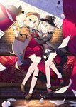 2girls 4others :o ;d aizawa_azusa alternate_costume bangs benio_(dontsugel) blue_eyes blush braid breasts brick_wall buttons cane capelet collar cravat curtains deerstalker demon_girl dress_shirt drill_hair flying_paper full_body hair_between_eyes happy hat highres holding holding_cane holding_magnifying_glass horns indoors jacket leaning_on_person loafers long_hair looking_at_another looking_away low_ponytail magnifying_glass miniskirt multiple_girls multiple_others necktie one_eye_closed open_mouth paper parted_bangs pleated_skirt provato_pecora_aries shirt shoes short_hair skirt slime slime_taoshite_300_nen_shiranai_uchi_ni_level_max_ni_nattemashita small_breasts smile standing sweat top_hat tuxedo_jacket very_long_hair vest white_shirt wool yellow_eyes